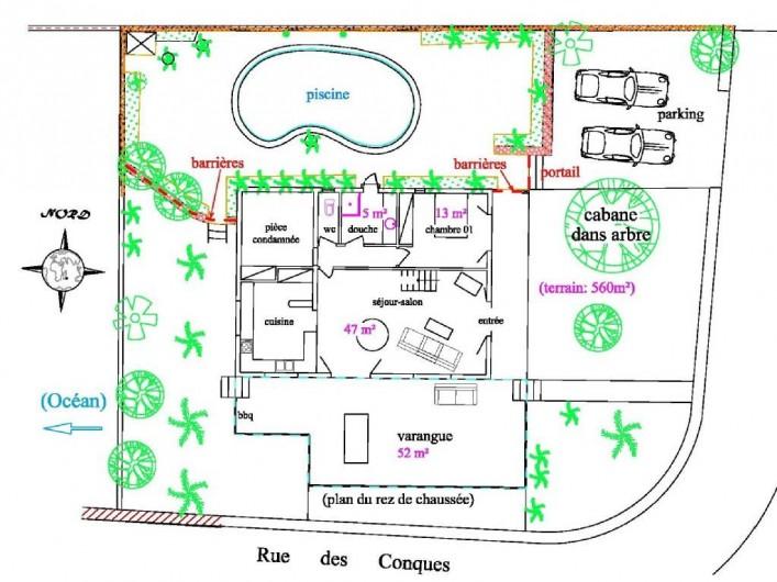 Location de vacances - Villa à La Saline-Les-Bains - Plan rez-de-chaussée (la cabane n'existe plus)