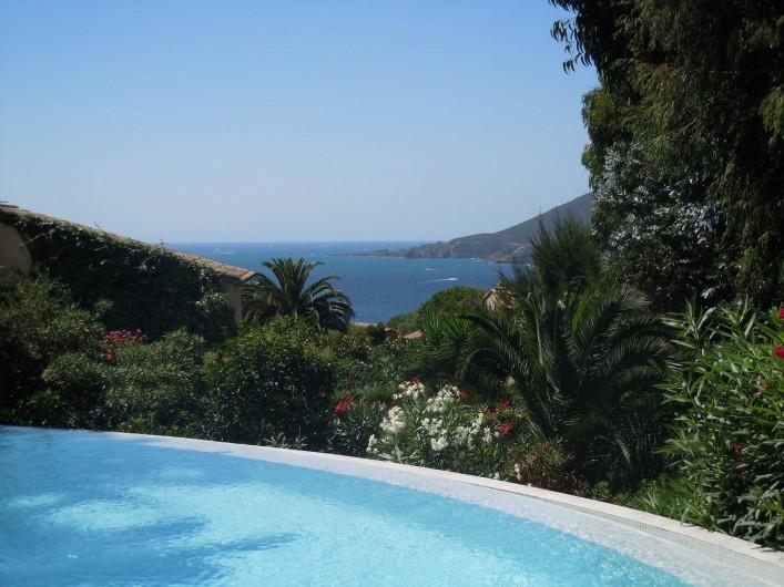 Location de vacances - Villa à Théoule-sur-Mer - vue mer de la piscine