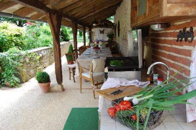 Location de vacances - Gîte à Saint-Aubin - Sous les auvents plancha , cuisine d'été