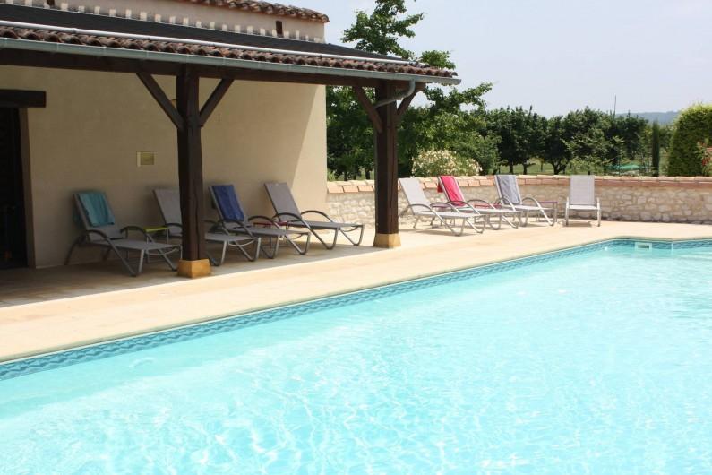 Location de vacances - Gîte à Saint-Aubin - Vue sur la piscine sous l'auvent salle de gym ,W C, Douche.
