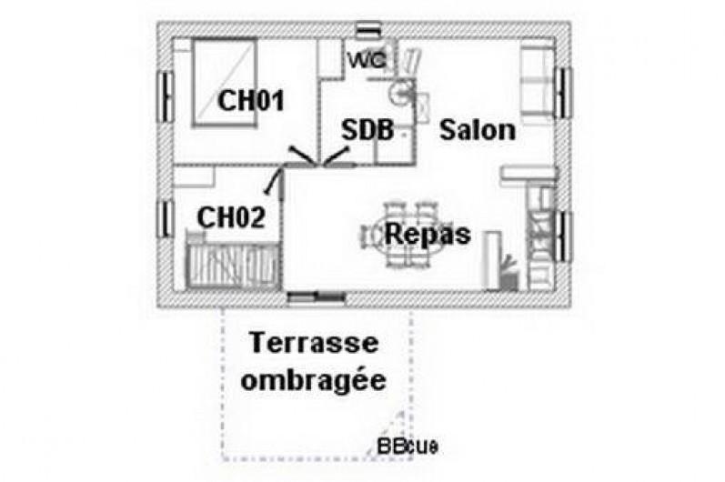 Location de vacances - Gîte à Salviac - Plan 1 : maison 4/5 personnes