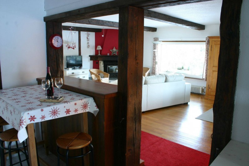 Location de vacances - Appartement à Vercorin - Cuisine et séjour