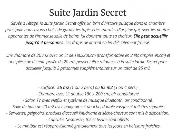 Location de vacances - Chambre d'hôtes à Saint-Paul-d'Espis - Suite Jardin Secret
