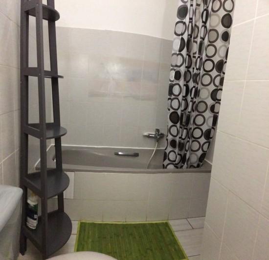 """Location de vacances - Appartement à Les Trois-Îlets - Villa Ansalane - T2 """"Elise"""" - Salle de bain n°1 avec lavabo, baignoire et WC"""
