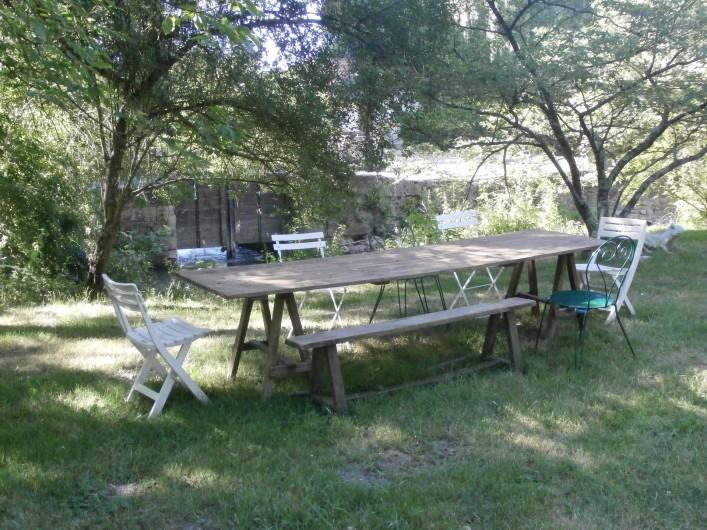 Location de vacances - Maison - Villa à Yvré-l'Évêque - A table sous les arbres .