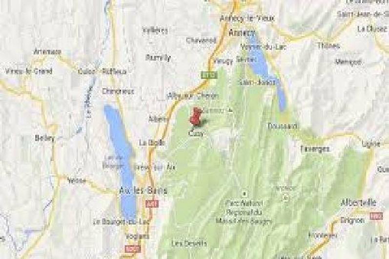 Location de vacances - Maison - Villa à Cusy - Carte de la région (entre le lac d'Annecy et le lac d' Aix-les-Bains)