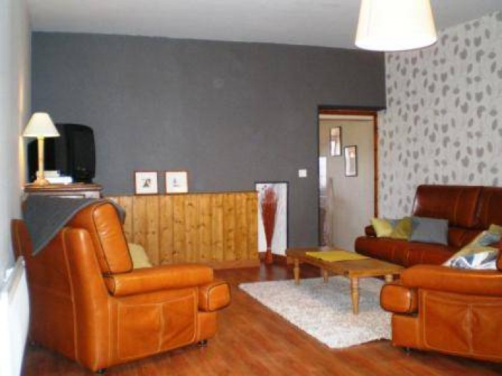 Location de vacances - Gîte à Prénovel - salon avec grand canapé cuir