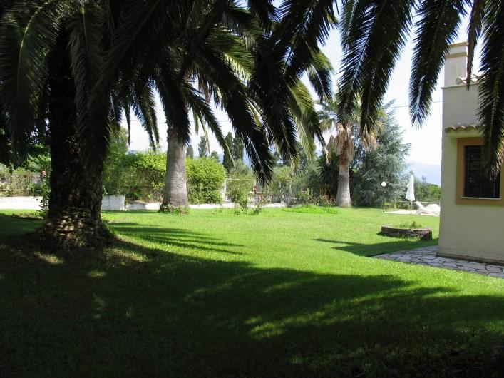 Location de vacances - Villa à Corfu - View of the garden lawns and palm trees.