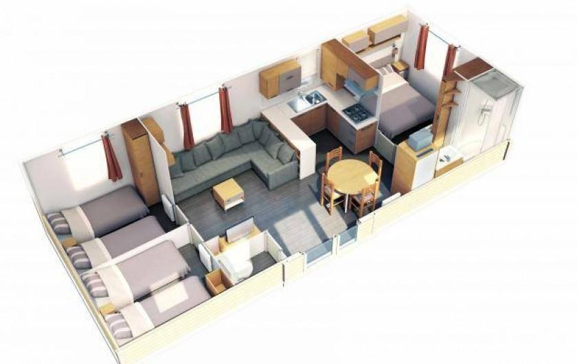 Location de vacances - Bungalow - Mobilhome à Grandcamp-Maisy - Plan intérieur