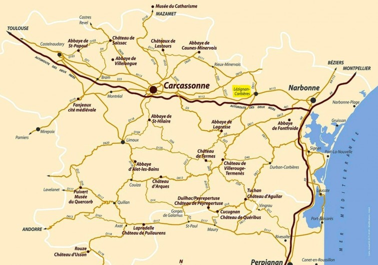 Location de vacances - Villa à Lézignan-Corbières - Carte du Pays Cathare