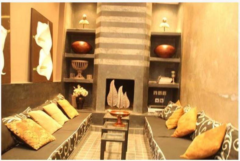 Location de vacances - Chambre d'hôtes à Marrakech - Salon cheminée