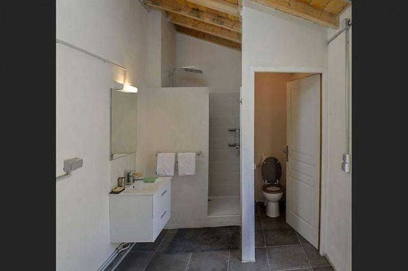 Location de vacances - Roulotte à Pernes-les-Fontaines - Salle d'eau : douche, lavabo, WC attenant à l'espace jacuzzi