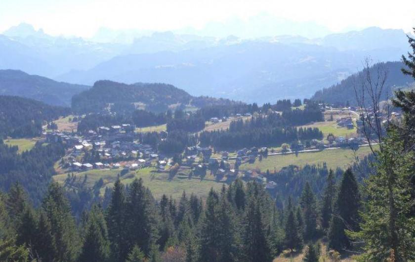 Location de vacances - Chalet à Le Praz de Lys - Praz de Lys et au fond le Mont Blanc