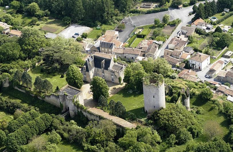 Location de vacances - Château - Manoir à Montreuil-Bonnin - Vue aérienne façade nord