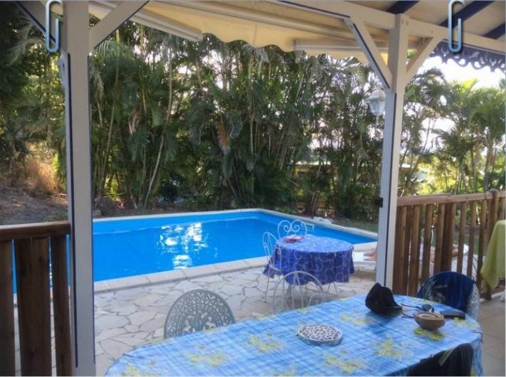 Location de vacances - Villa à Deshaies - piscine depuis le coin repas