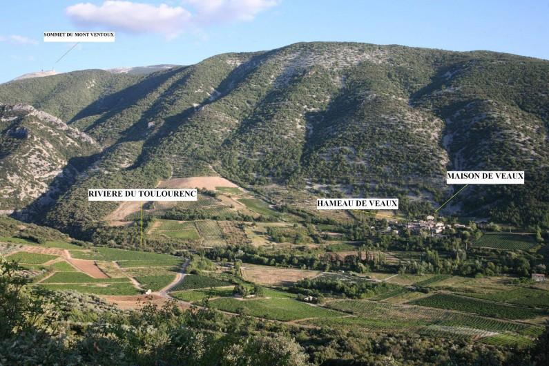 Location de vacances - Mas à Veaux - Vue générale avec le Mont Ventoux