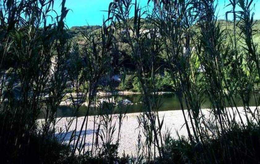 Location de vacances - Maison - Villa à Vers-Pont-du-Gard - bas du terrain vue sur la rivière