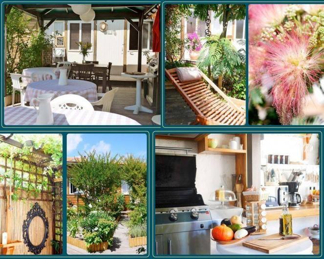 Location de vacances - Chambre d'hôtes à Mimizan - Le Jardin et la cuisine d'été
