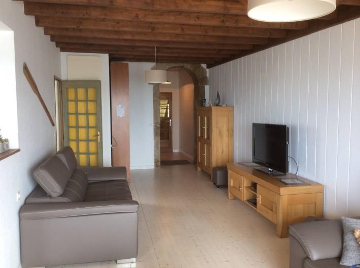 Location de vacances - Chambre d'hôtes à Guilvinec - salon, vue splendide sur mer