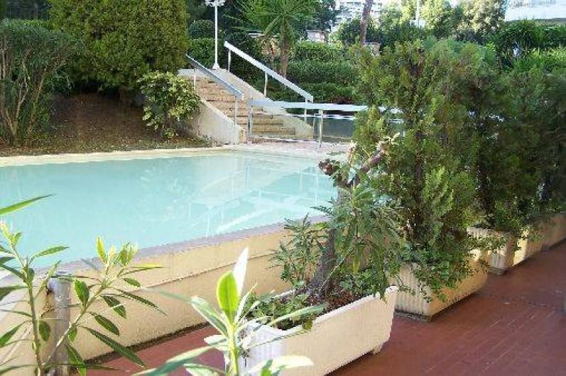 Location de vacances - Appartement à Cannes - Cannes beach- Bassins devant terrasse privative