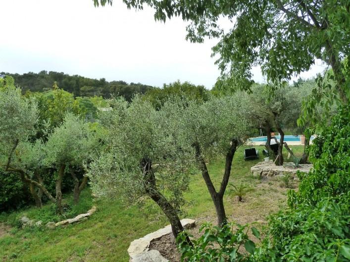 Location de vacances - Gîte à Nîmes - Jardin avec piscine vu sur les collines