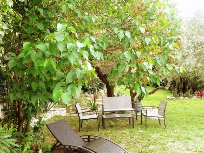 Location de vacances - Gîte à Nîmes - Coin détente au bord de la piscine