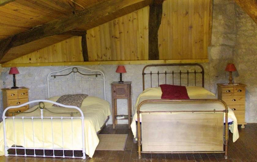 Location de vacances - Gîte à La Sauvetat-du-Dropt - La chambre mansardée à l'étage