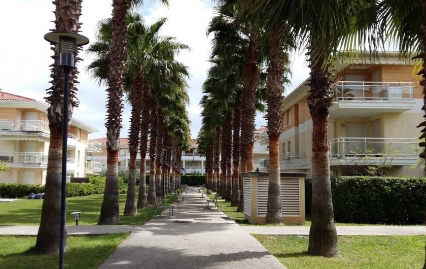 Location de vacances - Appartement à Antibes - Allée de la résidence avec ses bancs où vous pourrez vous détendre