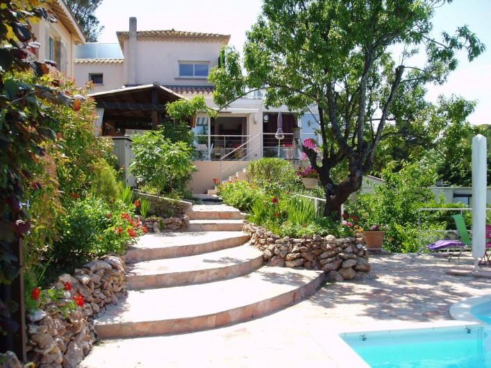 Location de vacances - Chambre d'hôtes à Sète - Vue de la piscine vers la maison