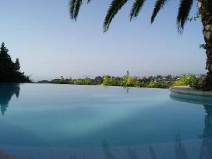 Location de vacances - Studio à Cagnes-sur-Mer - Vue piscine avec son panorama avec la mer