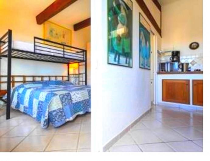 Location de vacances - Studio à Cagnes-sur-Mer - Vue cuisine et chambre du lit du studio  Francy