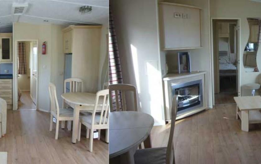 Location de vacances - Bungalow - Mobilhome à Lattes - Coin salle à manger et coin salon avec cheminée