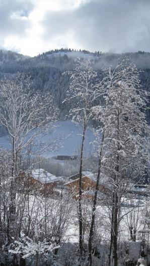 Location de vacances - Chalet à Le Grand-Bornand - par la fenêtre du studio l'hiver ....