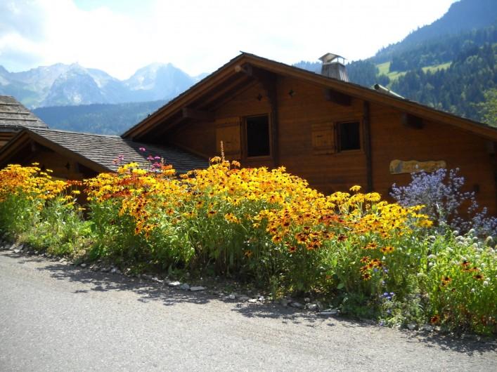 Location de vacances - Chalet à Le Grand-Bornand - le chalet côté rue l'été