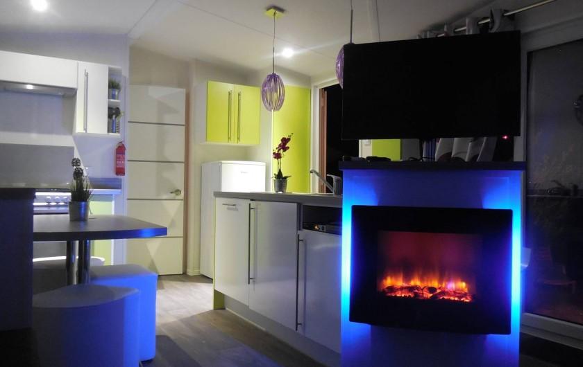 Location de vacances - Bungalow - Mobilhome à Grimaud - Cheminée électrique 3 couleurs au choix