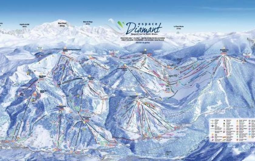 Location de vacances - Appartement à Crest-Voland - Plan des 192 km de pistes de ski alpin Espace Diamant (Crest Voland au centre)