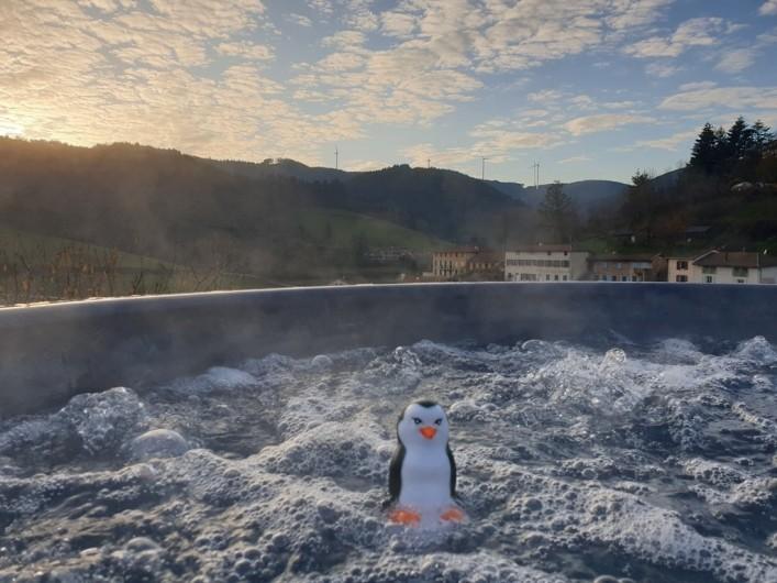 Location de vacances - Appartement à Valsonne - Vue du bain sur le Col des Sapins et ses 4 éoliennes