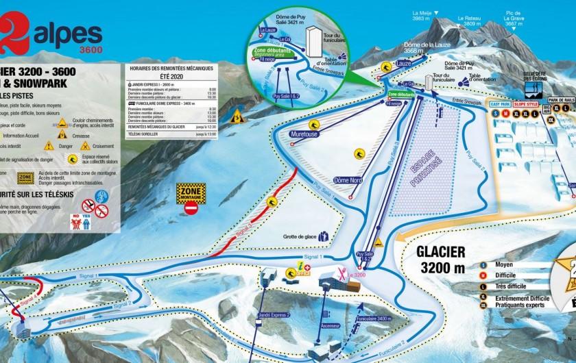 Location de vacances - Appartement à Les Deux Alpes - plan des piste du ski d'été
