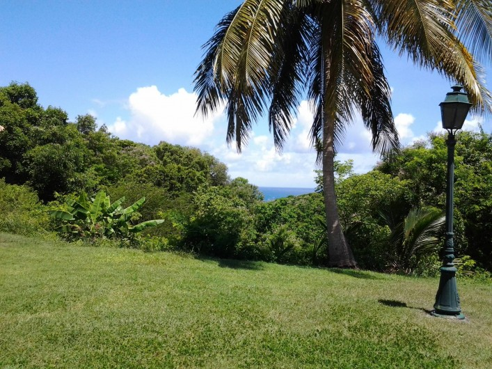 Location de vacances - Studio à Le Gosier - vue  sur la mer de la  terrasse du studio