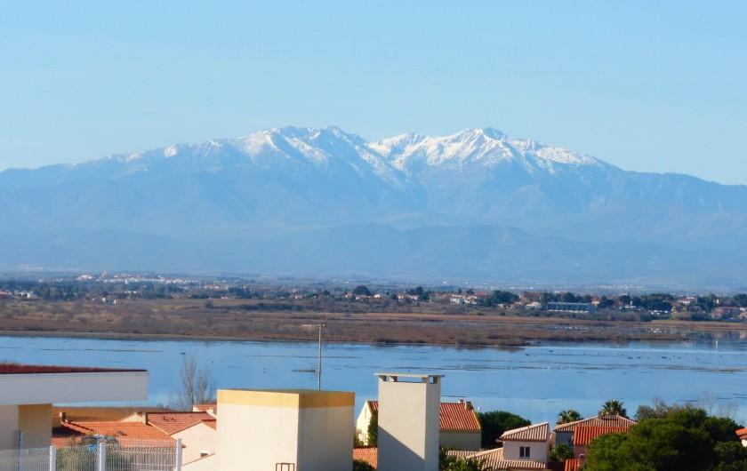 Location de vacances - Appartement à Canet-en-Roussillon - Autre vue de la terrasse : le  Canigou, point culminant des PO
