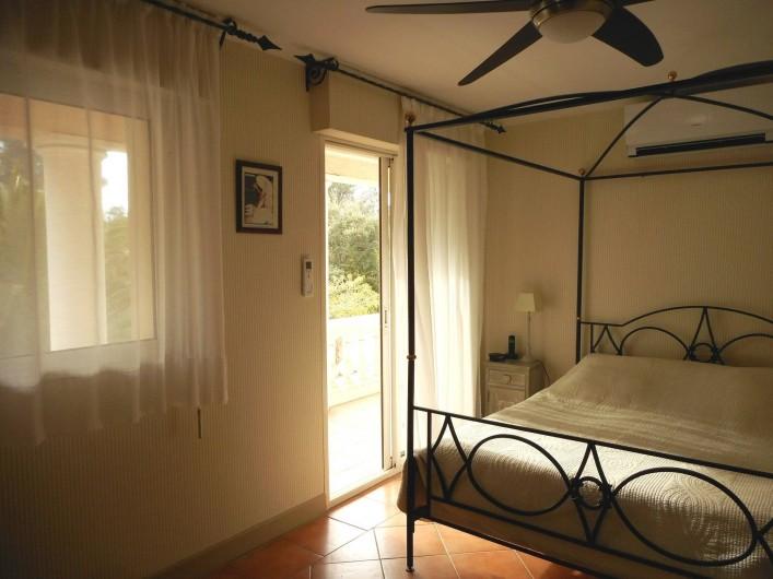 Location de vacances - Villa à Roquebrune-sur-Argens - Chambre N°1 Lit 160 donnant sur terrasse privative