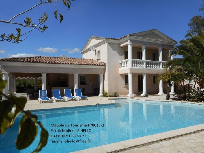 Location de vacances - Villa à Roquebrune-sur-Argens - Vue côté piscine et terrasse
