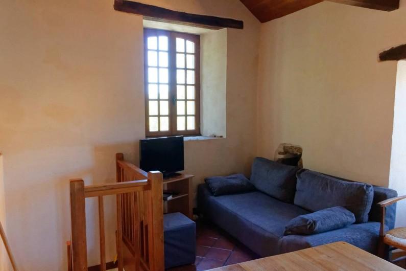 Location de vacances - Gîte à Saint-Victor-et-Melvieu - coin salon avec canapé convertible en 140 ; 4 places