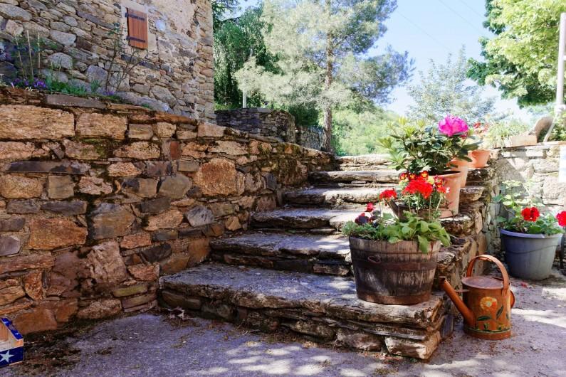 Location de vacances - Gîte à Saint-Victor-et-Melvieu - escalier fleuri devant le gîte