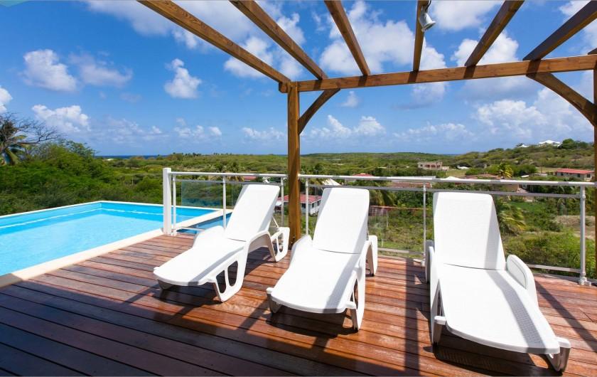 Location de vacances - Villa à Sainte-Anne - Alizées régulières avec vue sur les ilets  du Cap Chevalier.