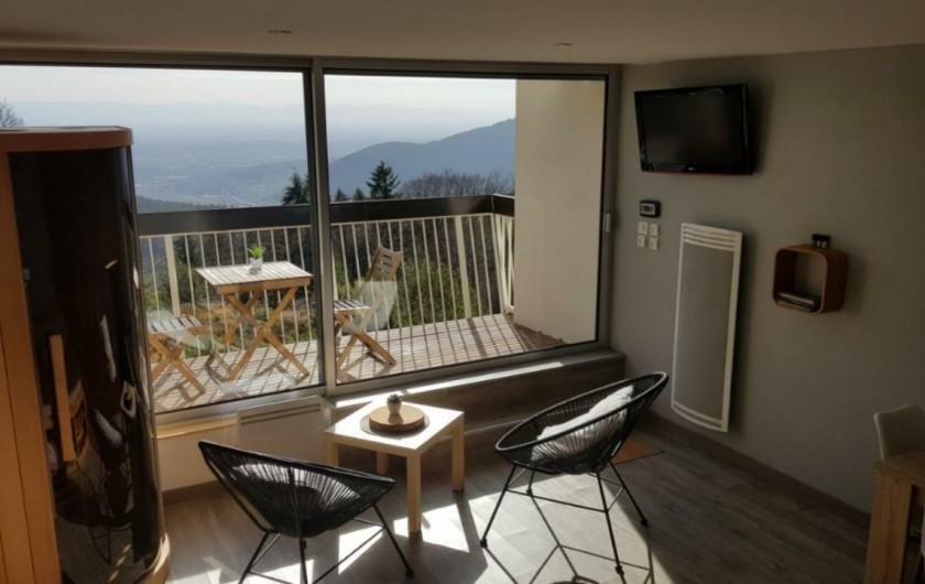 Location de vacances - Studio à Trois Épis - salon avec vue sur la plaine d'Alesace