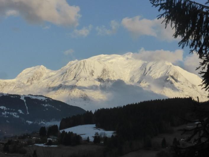 Location de vacances - Chalet à Combloux - Vue du balcon vers Mont Blanc
