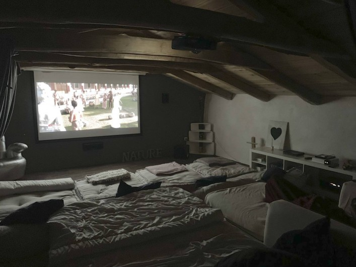 Location de vacances - Mas à Mercuer - Le coin cosy du home cinéma