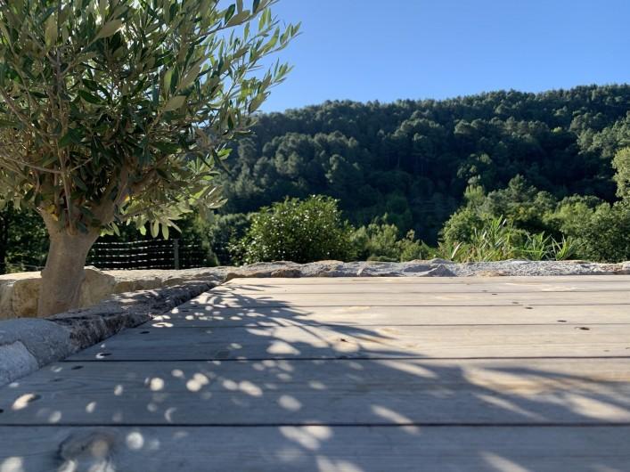 Location de vacances - Mas à Mercuer - Pierre, bois et oliviers