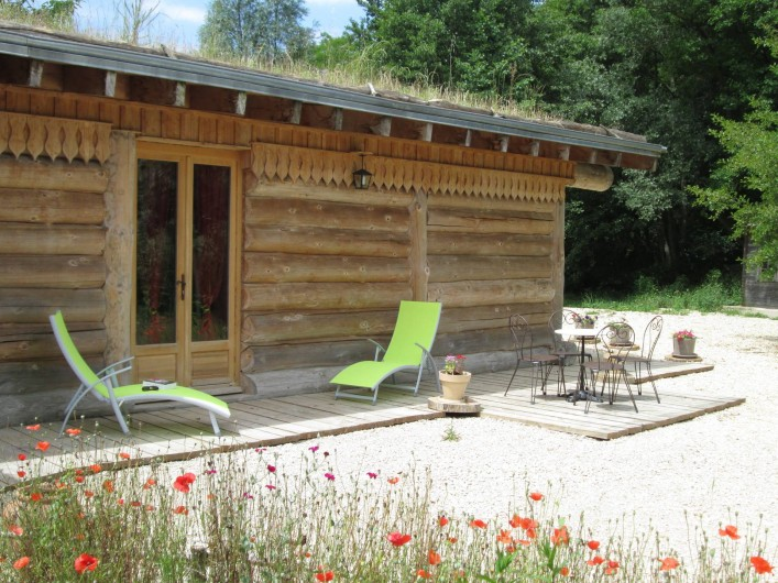 Location de vacances - Chambre d'hôtes à Orconte - Terrasse chambre Coquelicot